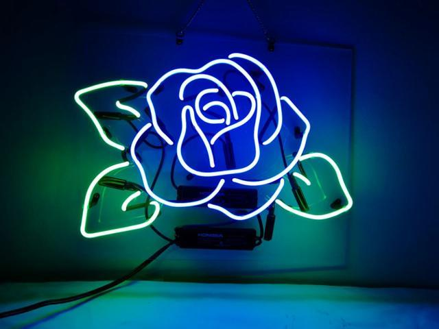neon signs blue rose beer bar pub recreation room lights windows wall signs or for christmas