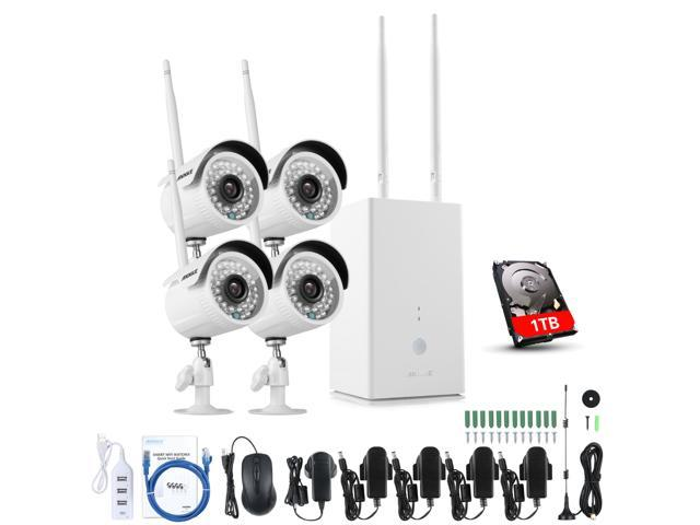ANNKE Auto Pair 1080P 4CH HDMI NVR 1TB HDD Wireless Security Camera System  with 4 HD 720P Weatherproof Bullet IP Cameras, 100ft Night Vision, Support