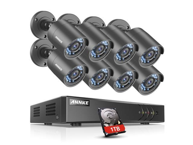 ANNKE 8CH HD TVI Security Camera System, 1080N DVR Reorder with 1TB  Surveillance Hard Drive and (8) 720P 1280TVL In/Outdoor Fixed CCTV Cameras,  P2P QR