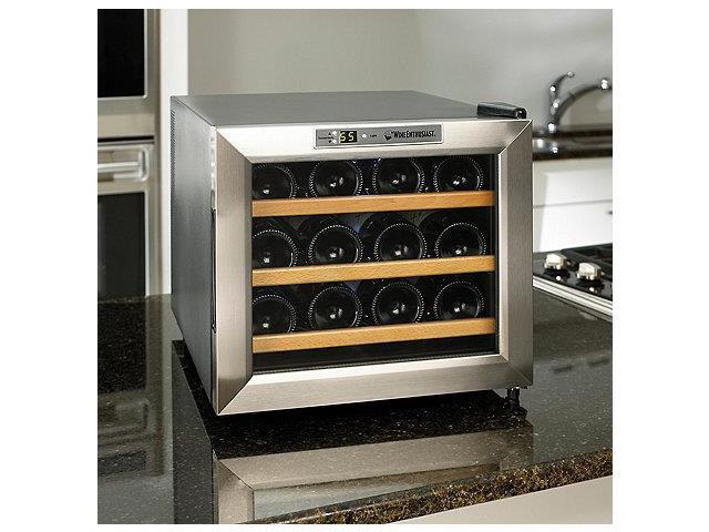 Wine Enthusiast Silent 12 Bottle Refrigerator Stainless Steel Trim Door