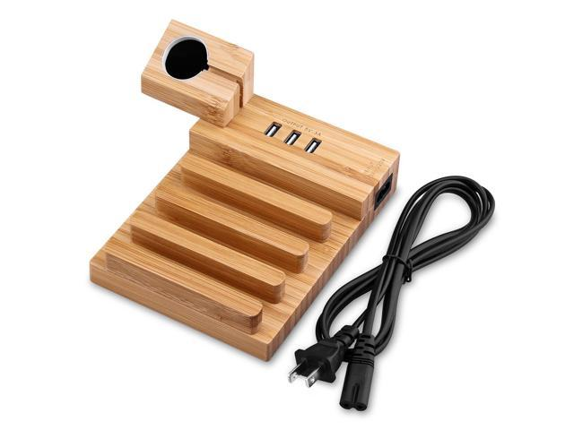Detachable Charging Station Usb Charger 3a Bamboo Wood Dock Stand Holder Desktop Organizer With