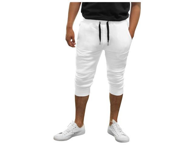 cdfbf8c91e5c True Rock Men s Textured Panel Capri Pants Joggers-White-XL ...
