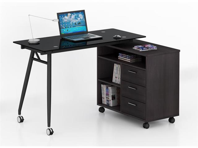 Buy shape home office Industrial Stvol Dream House Ideas Proht Home Office Lshape Glass Computer Desk With Drawers 05007