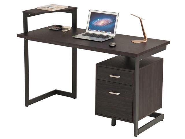 Proht Home Office Computer Desk With Two Drawers Chocolate Brown 05018 Newegg