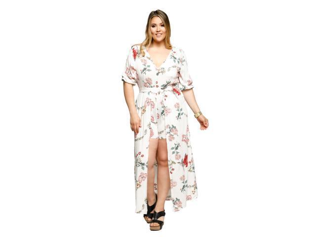 3976614df6d Hadari Women s Plus Size Sexy Floral Short Romper Long Maxi Dress ...
