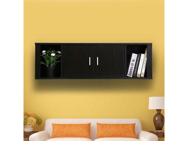 Yaheetech 2 Cube Wall Mounted Media Storage Cabinet Door Floating Console Hutch Black