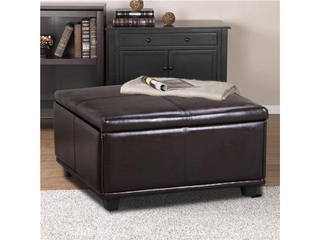 Yaheetech Large Faux Leather Ottoman Storage Coffee Table Lift Up - Solid wood lift up coffee table