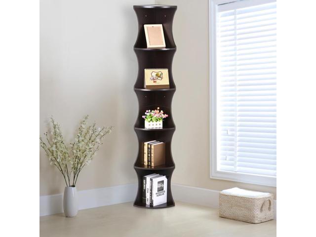 Yaheetech 5 Tier Wood Round Wall Corner Shelf Slim Bookshelf Bookcase Tall Display Rack
