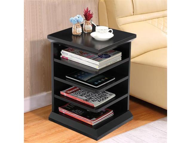 Yaheetech 4 Shelf Magazine Rack End Table Black