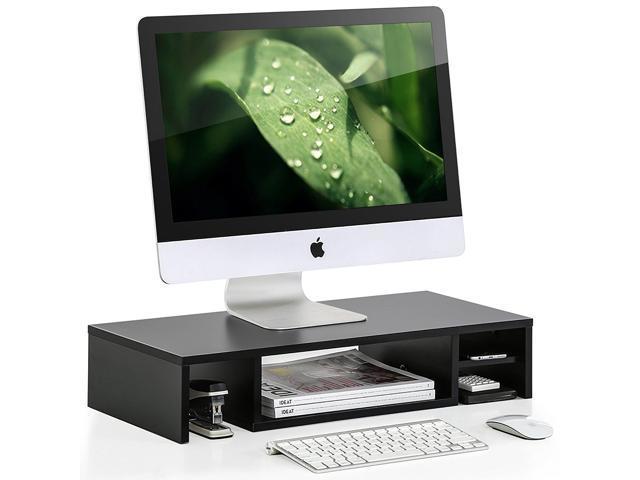 Wooden Computer Monitor Riser With Storage Shelf Desktop