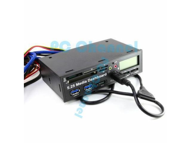 "5.25/"" Desktop Media Dashboard Front Panel eSATA Dual USB 3.0 Card Reader"