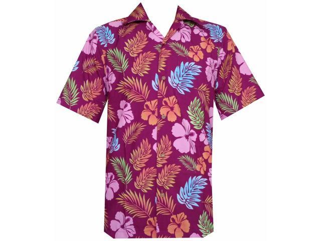 0d21deb6 Hawaiian Shirt 38 Mens Hibiscus Floral Leaf Print Beach Aloha Party Purple S