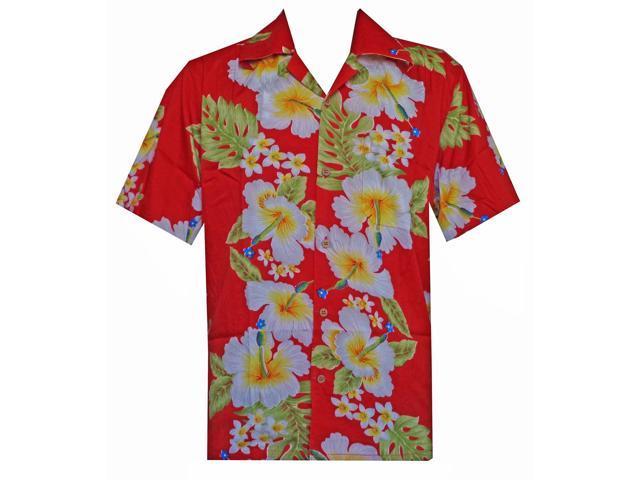 d466049c8cddc0 Hawaiian Shirt 10 Mens Hibiscus Floral Print Beach Camp Party Aloha Red 2XL