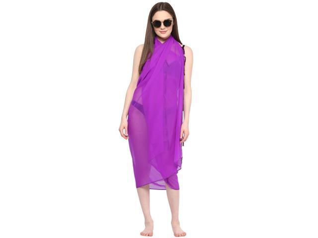 5dbc7196dd Sarong Women Solid Plain Beach Swimsuit Wrap Plus Size Sheer Cover Up Purple