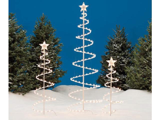 set of 3 lighted spiral christmas trees 3 ft 4 ft and 6 ft - Spiral Christmas Tree Led