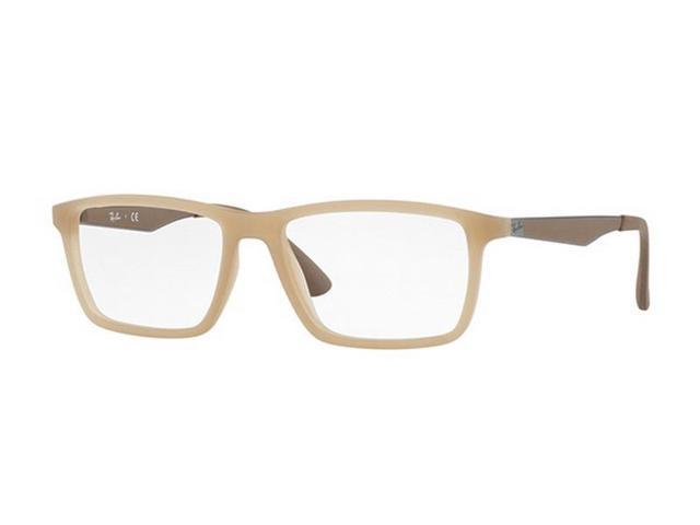 67c6d817ac Ray Ban RX7056-5646 Rectangle Men s Beige Frame Clear Lens Genuine  Eyeglasses NWT