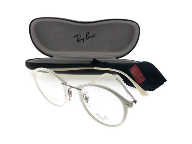 32d80f594d2 Ray Ban RX7073 5618-47 Light Ray Unisex White Frame Clear Lens Eyeglasses  NWT