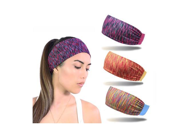 a42a7184c5cc 3pcs Women Moisture Wicking Wide Non-Slip Sport Headband Sweatband Gym Yoga