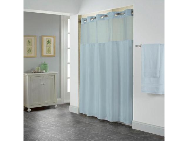 Hookless Shiny Herringbone PEVA Lined Shower Curtain
