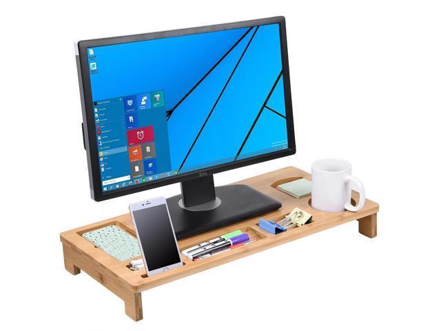 Bamboo Monitor Stand Riser W Desktop Storage Organizer Tv Laptop Home Office