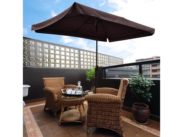 10x6.5ft Rectangle Aluminum Outdoor Patio Umbrella W/ Valance Sunshade Crank  Tilt Garden Dark