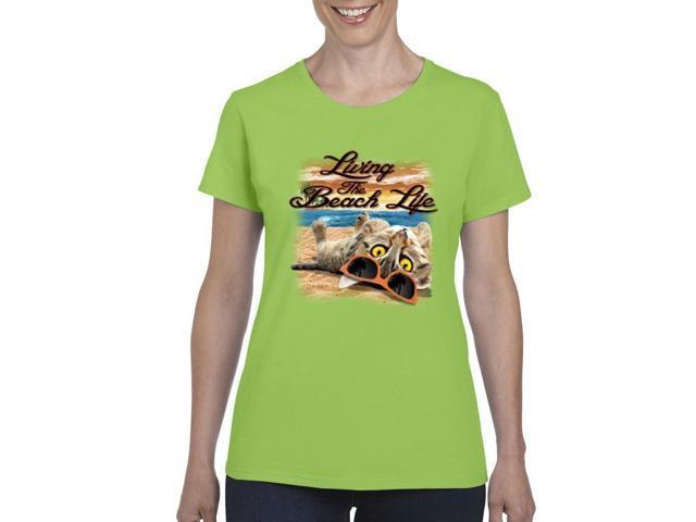 29860a5e0 Artix Living The Beach Life Women's T-shirt Tee Clothes Small Lime Green