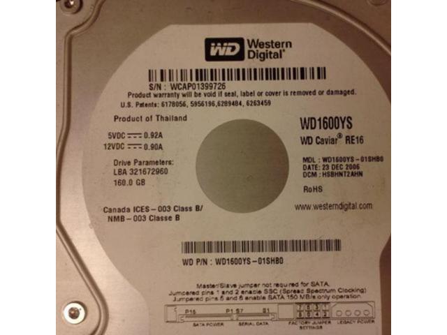Western Digital 160GB SATA//150 7200RPM 16MB Hard Drive