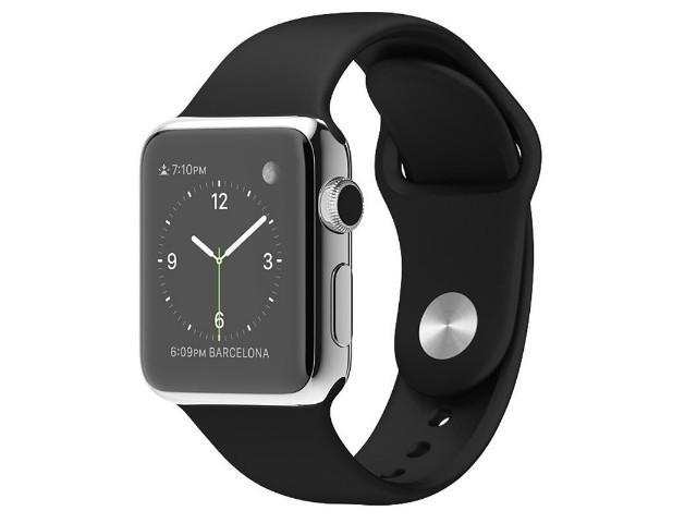 pretty nice 68d89 b377a Refurbished: Apple Watch 38mm Stainless Steel Case with Black Sport Band -  Newegg.com