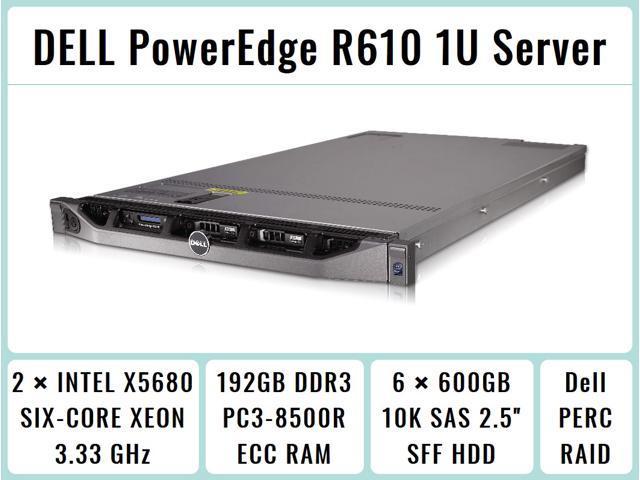 DELL PowerEdge R610 1U 64-bit Server with 2xSix-Core X5680 Xeon 3 33GHz  CPUs + 192GB PC3-8500R DDR3 RAM + 6x600GB 10K SAS SFF HDD, PERC RAID,  iDRAC,