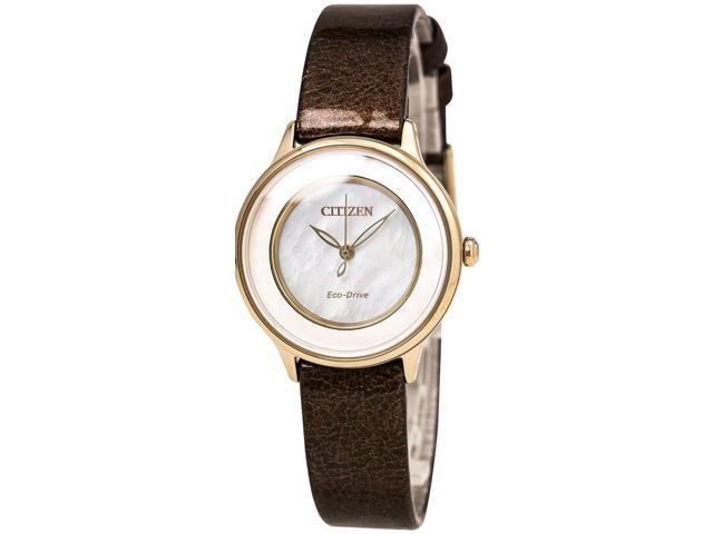 2a864e836 Citizen Citizen L EM0383-08D Mother-of-Pearl/Brown Leather Analog Eco-Drive  Women's Watch