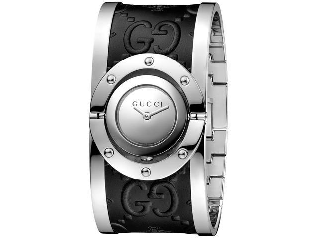 1d68266351f Gucci Twirl Stainless Steel And Leather Ladies Watch YA112441 ...