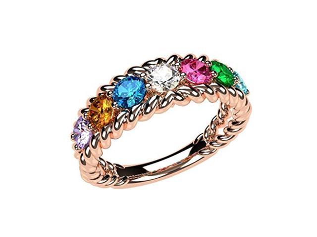 1f13c6e2cca49 NANA Rope Mothers Ring 1 to 10 Simulated Birthstones- 10k Rose Gold - Size  8. - Newegg.com