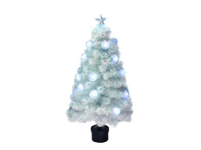4 Pre Lit White Iridescent Fiber Optic Artificial Christmas Tree Newegg Ca