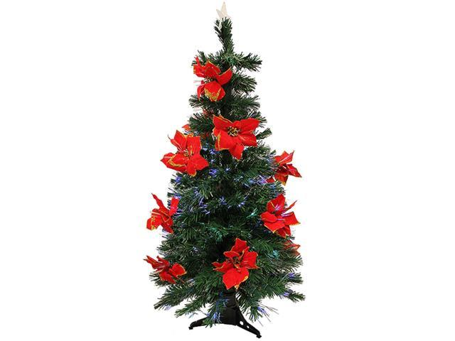5' Pre-Lit Fiber Optic Artificial Christmas Tree With Red