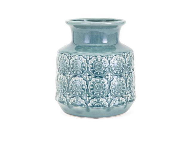 10 Large Turquoise Blue Felman Vintage Inspired Decorative Vase