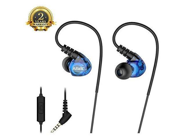28379b2c30e Wired In Ear Earbuds, Aitalk E260 Over Ear Noise Isolating Sports Earphones  Sweatproof 3.5mm Stereo Headphones with Mic and Remote for Running GYM ...