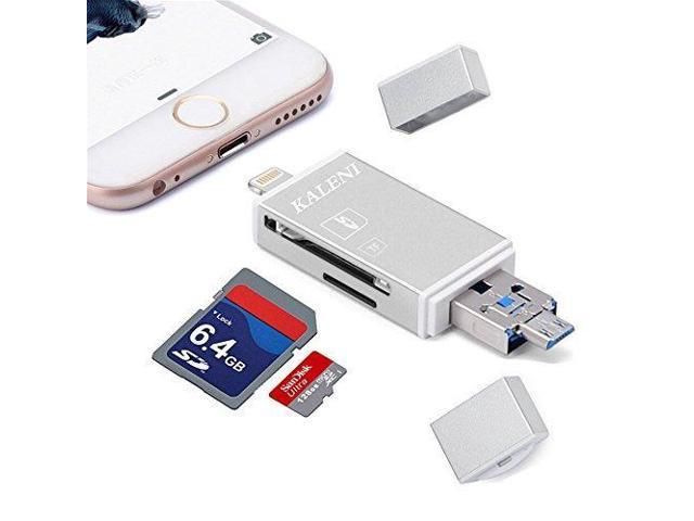 KALENI SD Card Reader, 3 in 1 USB Flash Drive with Lightning Micro SD &TF  Card Reader Adapter for iPhone iPad Mac Android (Silver) - Newegg com