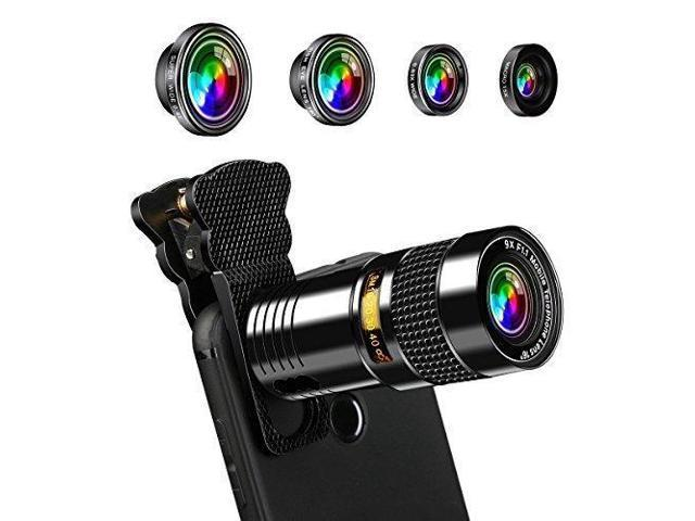 new style 80db1 fce8b AFAITH 5-in-1 Phone Camera Lens Kit 9X Telephone Lens+180 Degree  Fisheye+Super Wide 0.4X+ 0.63X Wide and Macro Lens for iPhone 7 / 7 Plus /  6s / 6 / 5 ...
