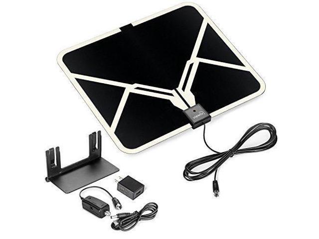 ViewTV 65 Mile Range Flat HD Digital Indoor Amplified TV Antenna -  Detachable Amplifier Signal Booster - Antenna Stand - 12ft Coax Cable -  Black -