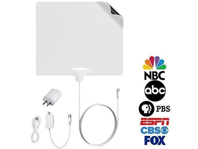 FIVESTAR Indoor Antenna Amplified HD TV 4K up to 100 Mile TV Antenna plus  Amplifier Signal Booster USB Cable and Power Supply 10 Ft Coaxial Cable