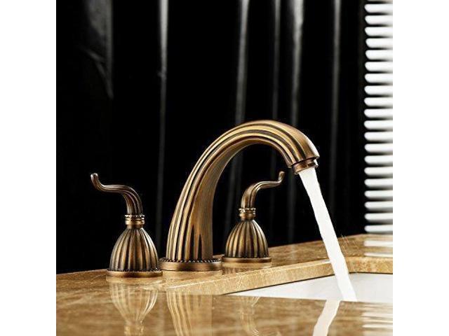 Lightinthebox Luxury Classic Antique Inspired Solid Brass Deck Mount Two Handles Bathroom Sink Faucet Bath Tub Mixer Taps Unique Desinger Vanity