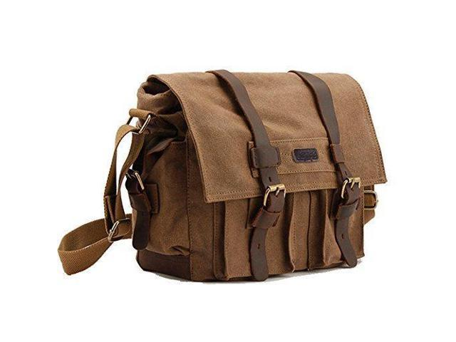 d1d1b95b0 Kattee Men's Canvas Cow Leather DSLR SLR Vintage Camera Shoulder Messenger  Bag Khaki