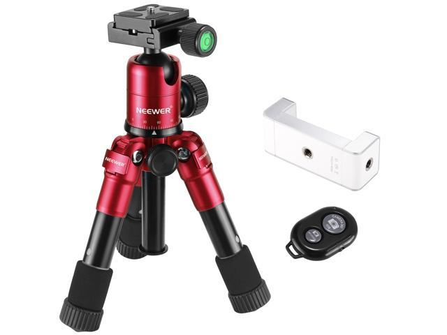 Neewer Cellphone and Camera Photography Desktop Tripod (Red) with 360  Degree Ball Head, Smartphone Clip Holder and Wireless Bluetooth Remote  Control