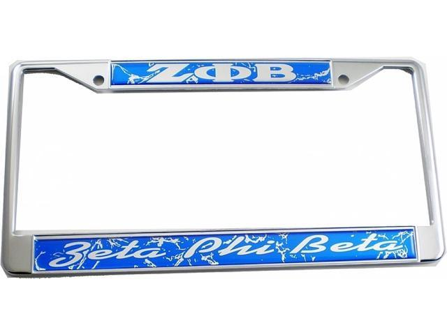 Zeta Phi Beta Domed Script License Plate Frame [Silver - Car/Truck ...