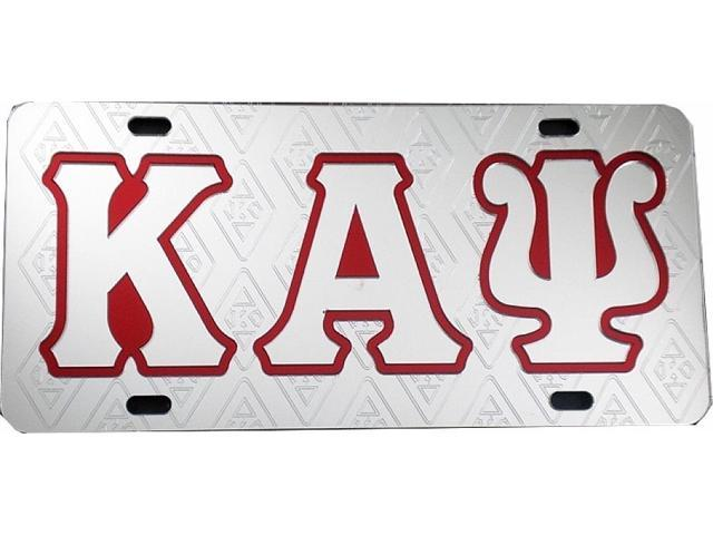 Kappa Alpha Psi Ghost Back Symbols Car Tag License Plate Silver