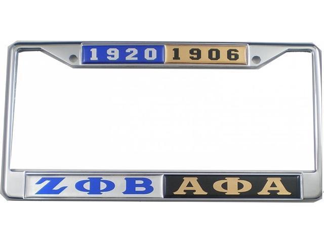 Zeta Phi Beta + Alpha Phi Alpha Split License Plate Frame [Silver ...