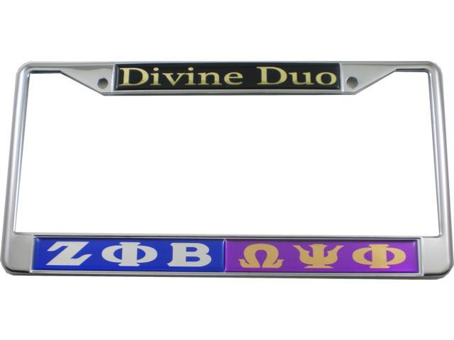 Zeta Phi Beta + Omega Psi Phi Divine Duo Split License Plate Frame ...