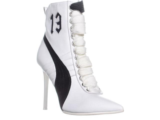 new product a0971 b3de1 PUMA Fenty High Heel Sneaker Ankle Boots, White/Black/White, 6 US / 36 EU -  Newegg.com