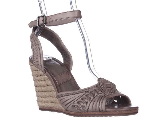 fd1375eb478 FRYE Patricia Concho Woven Wedge Espadrille Sandals, Grey, 9 US - Newegg.com