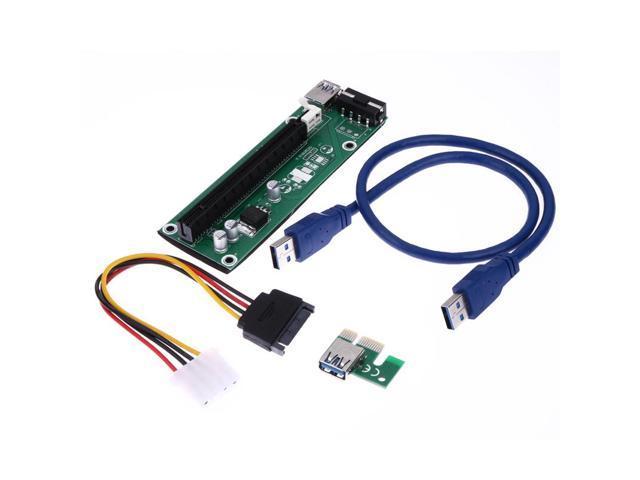 2x Mini PCI-E Express Extension 1X Riser Card Power USB 30cm Extender Cable